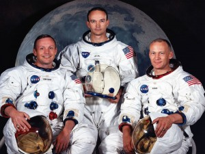 376713 09: (FILE PHOTO) The National Aeronautics and Space Administration (NASA) has named these three astronauts as the prime crew of the Apollo 11 lunar landing mission. Left to right, are Neil A. Armstrong, commander; Michael Collins, command module pilot; and Edwin E. Aldrin Jr., lunar module pilot. The 30th anniversary of the Apollo 11 Moon mission is celebrated July 20, 1999. (Photo by NASA/Newsmakers)